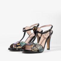 sandalia negra con detalles de serpiente multicolor joni shoes 18154 iso