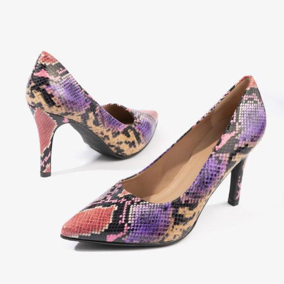 salon joni shoes con tonos de serpiente morados 17540
