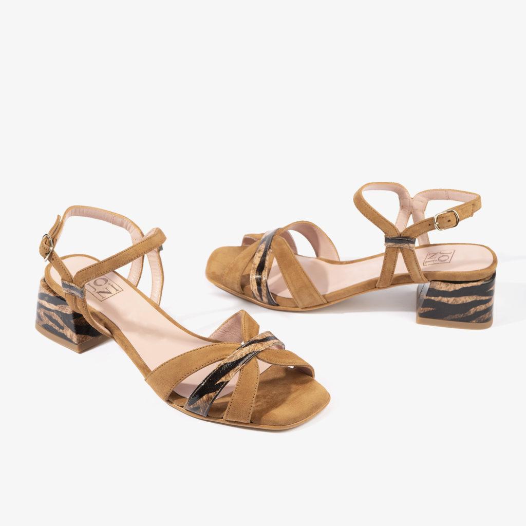 sandalia baja en color brandy joni shoes 18053