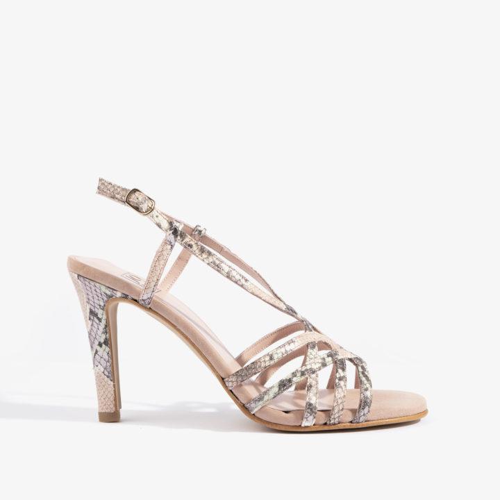 sandalia con detalles en serpiente en tonos rosa joni shoes 18167
