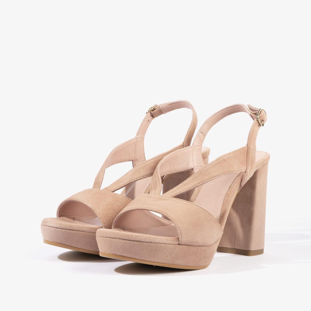 sandalia joni shoes confeccionada en ante con color rosa