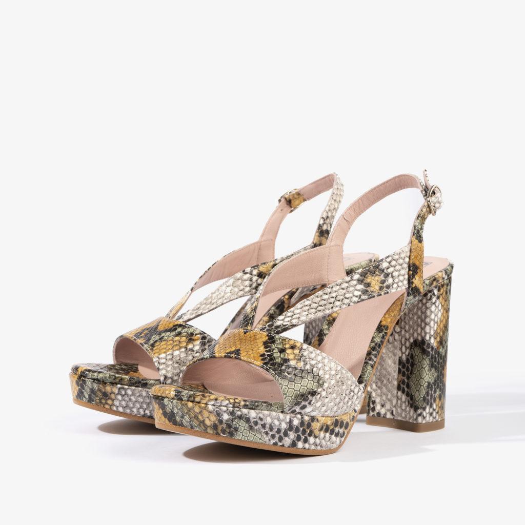 sandalia joni shoes confeccionada en serpiente con color amarillo 18200