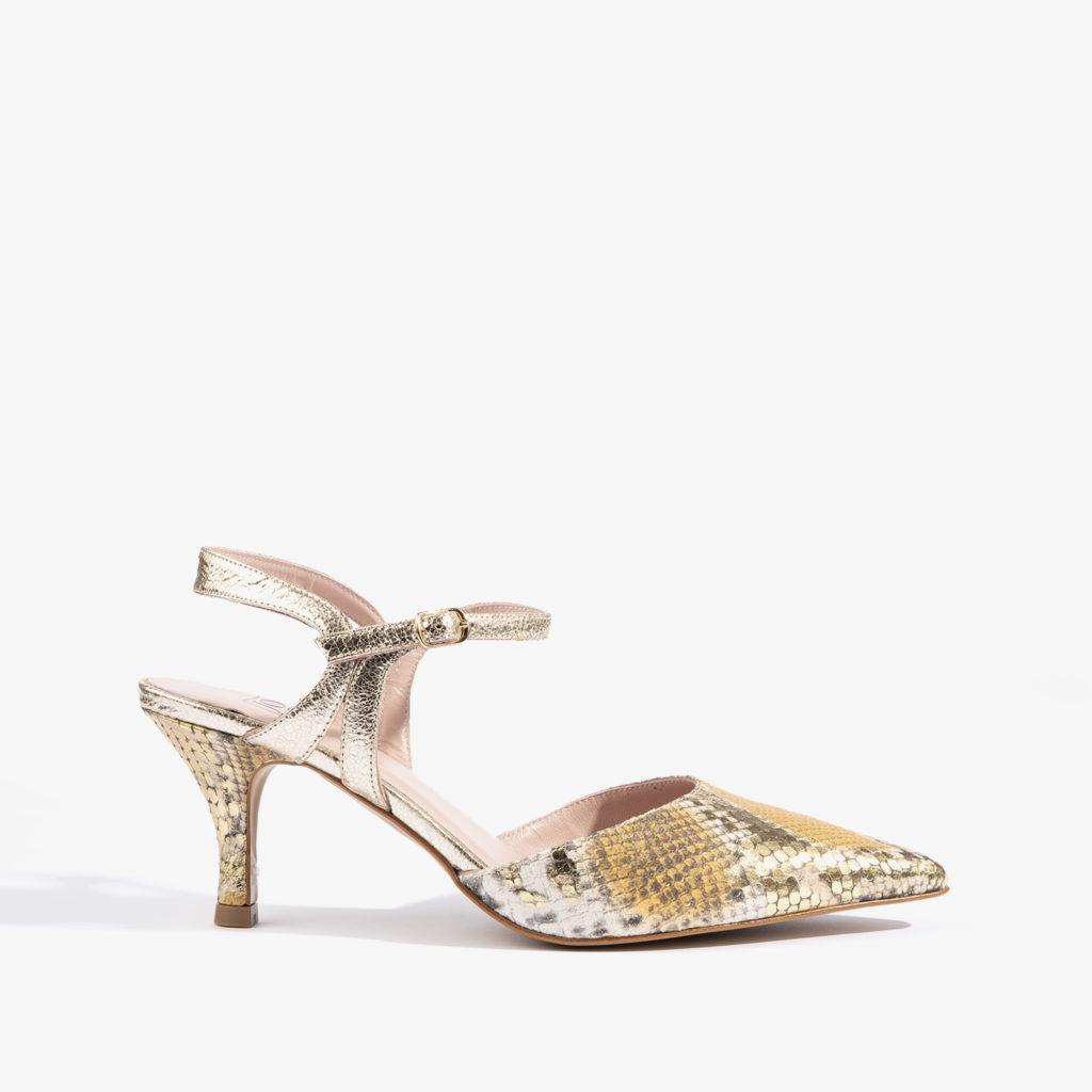 salon estampado en serpiente con colores dorados joni shoes 18456