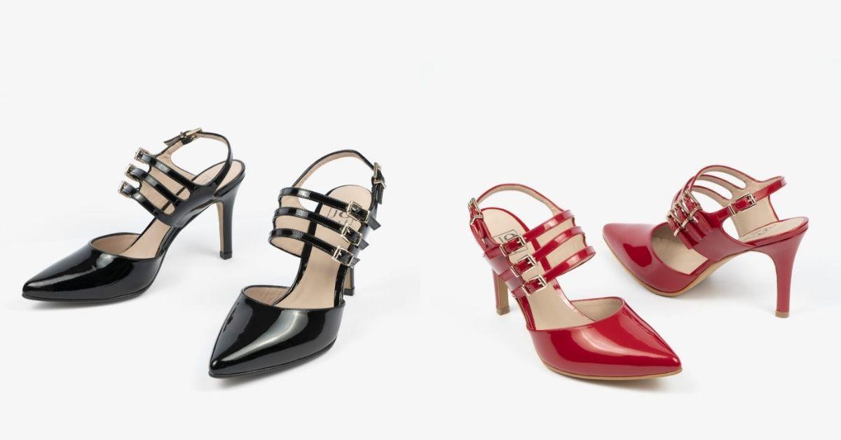 Los salones son esenciales para los eventos, en este caso, os mostramos dos ideas de salones abiertos de calzado femenino hecho en España para tus eventos. Uno de ellos es en color negro y otro en color rojo, ambos son de tacón alto y fino.