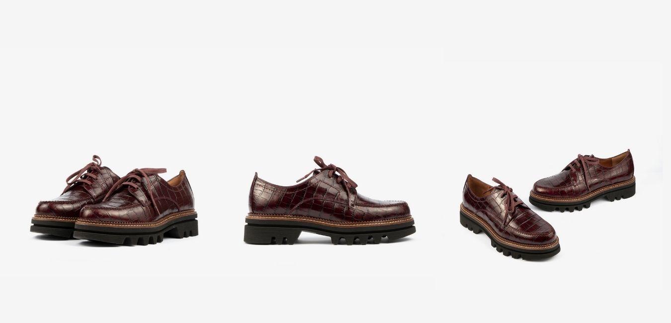 En este caso la imagen muestra un calzado para mujer, es decir unos zapatos cerrados con cordoneras. En concreto estos zapatos planos tienen algo especial y es la suela track, pura tendencia en la temporada otoño-invierno. Estos botines además cuentan con detalles especiales como es el grabado animal print,